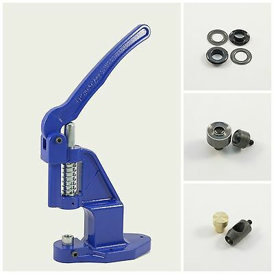 Set Eyelet press +125 black 12mm rust-free +2 Tools for Hand Rivets