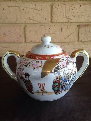 ANTIQUE JAPANESE ROXY CHINA HAND PAINTED PORCELAIN LIDDED SUGAR BOWL~ 1900s