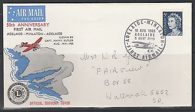 50th Anniv Adelaide to Minlaton Official Flight Cover Back Stamped Minlaton 1969