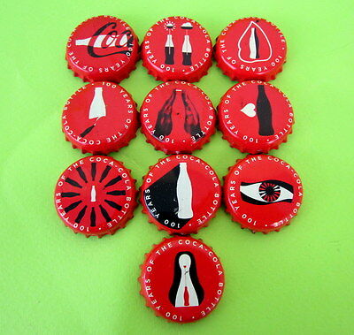 Lot 10 Different Rare Greek 100 Years Coca Cola Collectible Red Bottle Tops Caps