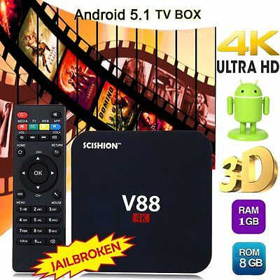 Fully Loaded 8G 4K V88 RK3229 Android 5.1 Smart TV BOX Quad Core Media Player