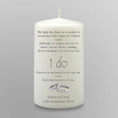Personalised Remembrance In Memory Wedding Candle Gift Keepsake Small