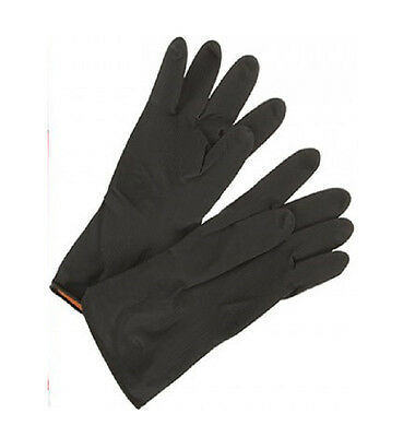 Heavy Duty Household Industrial Gardening BLACK Rubber Latex Gloves Size Large