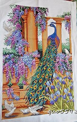 "New Finished Cross Stitch Needlepoint""Beautiful Peacock""Home Decor Gifts"