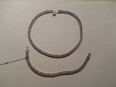 Vintage Art Deco Dorson Sterling Silver Paste Stone Choker Necklace & Bracel