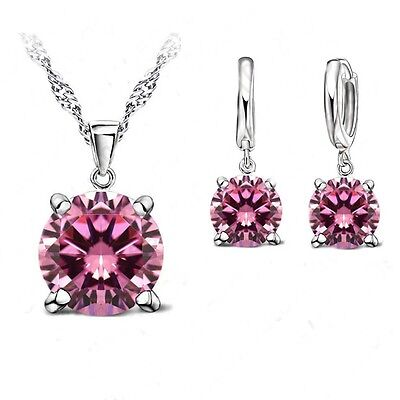 925 Silver Pink Cubic Zirconia Jewellery Set. Necklace and Drop Earrings