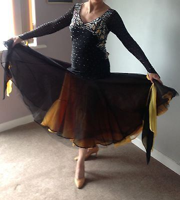 Black And Yellow Ballroom Dress 10-12..PRICE REDUCED FURTHER!!