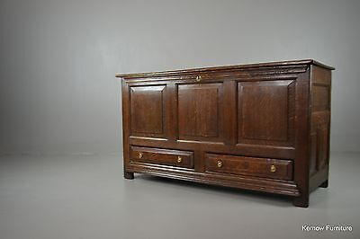 Antique Oak Panelled Mule Chest Coffer Blanket Box Storage Chest