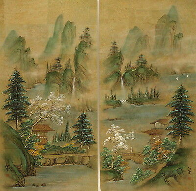 "PAIR Chinese landscapes watercolour painting on cork faced paper 30""x15"" CL002AB"