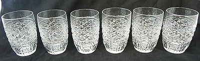 """Stunning Set of 6 Waterford Crystal Tumblers - All Signed - 3 3/4"""" Tall"""