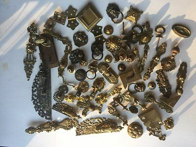 Lot of 70+++ Antique Brass Pieces of Hinges, Pulls, Locks, Knobs, Handles, etc