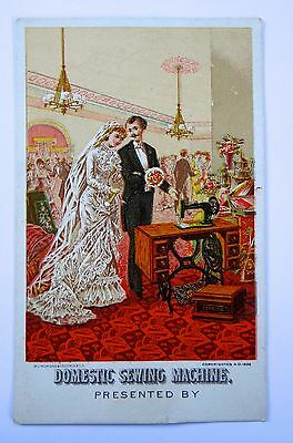Victorian Trade Card Domestic Sewing Machine Wedding (Great Gift Tag) 1882