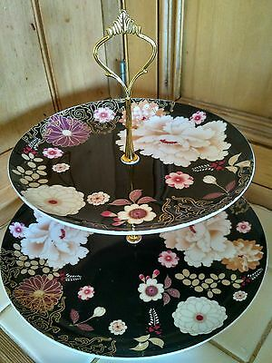 Maxwell Willams Kimono 2 Tier Cake Stand Pink Floral Chintz Black Tea Party