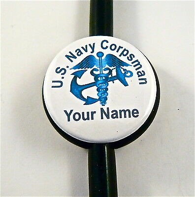 Id Stethoscope Name Tag Us Navy Corpsman,medical, Rn,er,nurse,dr.tech,navy,