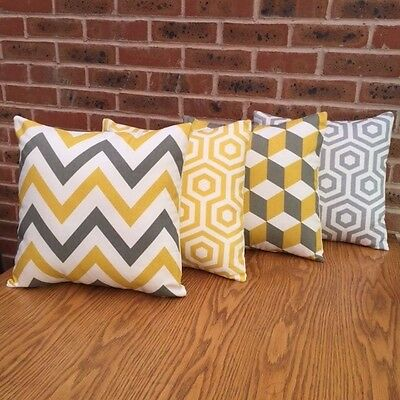 """Cushion Cover Sofa Pack of 4 x Yellow and Grey Geometric 20"""""""