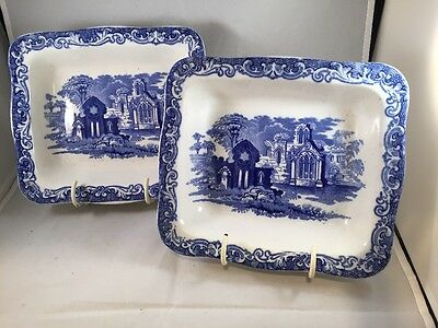 Vintage Blue And White Pottery George Jones Shredded Wheat Dish