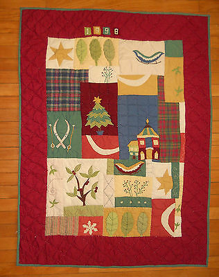 "Pottery Barn Christmas Applique Quilt Wall Hanging Handsewn 47.25"" x 35.5"" 1998"