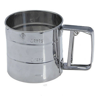 Stainless Steel Flour Sifter Cup Baking Icing Sugar Shaker Strainer Sieve TS