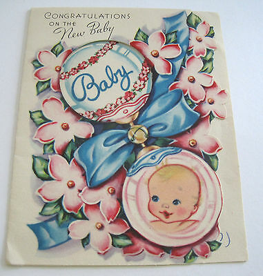 Used Vtg Greeting Card Cut Out Baby Rattle w Baby & Flowers