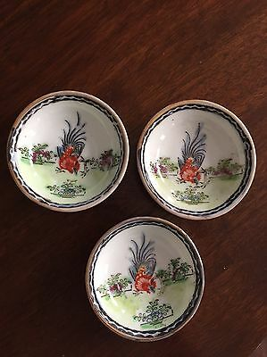 Vintage Hand painted Japanese? Dipping Dishes- Set of 3