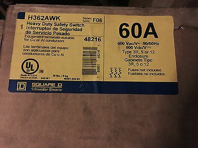 SQUARE D 60 AMP Heavy Duty Safety Switch Fuseable H362AWK  Series F06 ***NIB***