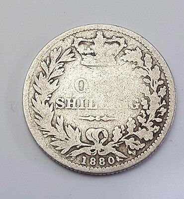 1880 - Silver - One Shilling - Great Britain - Queen Victoria - English UK Coin