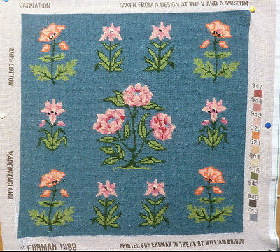 "EHRMAN TAPESTRY NEEDLEPOINT COMPLETED BLUE ""CARNATION"" V&A Design 1989"