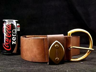 "Dolce and Gabbana 2.6"" Wide Brown Leather Belt Large Brass Buckle Size 90 / 42"