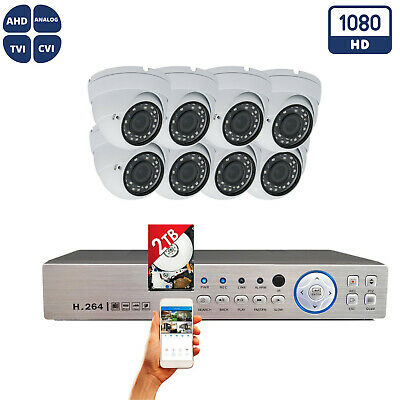 8 Channel Surveillance Outdoor Indoor Security HD-CCTV DVR System 2TB HDD