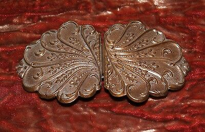 Antique Victorian Edwardian Style Woman's Pressed Metal Retro Clasp Belt Buckle