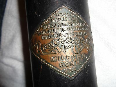 Antique Vacuum Cleaner Vintage 1907 Reeves Non Electric Stick/Milford Conn. USA