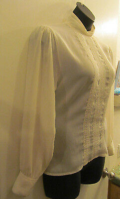 VICTORIAN Edwardian Ivory Womens VINTAGE BLOUSE STEAMPUNK Career Costume 12 M/L