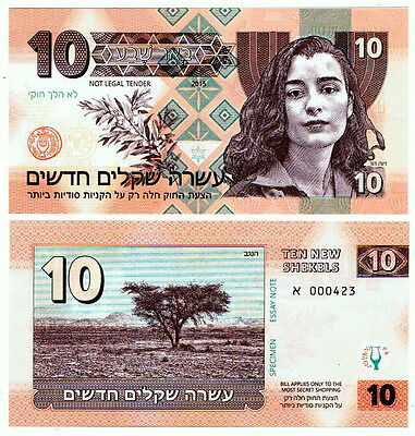 Israel. Private Issue. 10 New Shekels (2015). UNC. Ziva David.