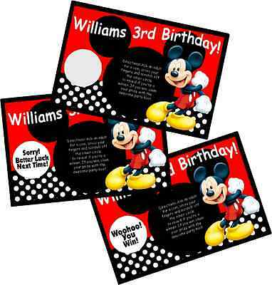 Mickey Mouse Personlized Scratch Off Offs Party Game Games Cards Birthday Favors