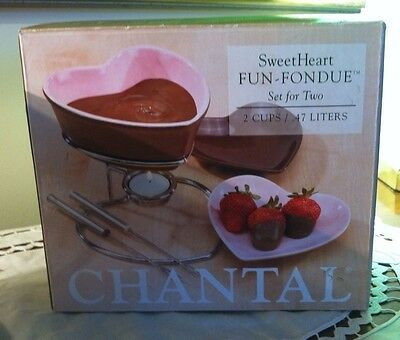 Chantal Heart Shaped Fondue Set For Two  Heart Shape Dishes New In Box