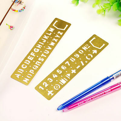 Number Letter Template Ruler Drawing Tool Bookmark Retro Brass Stencil Kid Craft