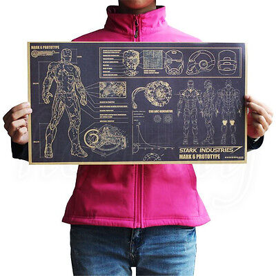 Vintage Iron Man Design Drawings Posters Kraft paper Home Decoration 51.5 X 29cm