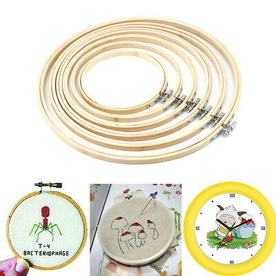 Wooden Cross Stitch Machine Embroidery Hoop Ring Bamboo Sewing 13-30cm HOT EI