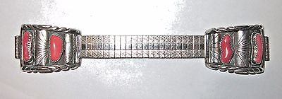 Vintage Men's Sterling Silver Coral Watchband-Navajo, Made in USA Signed JY