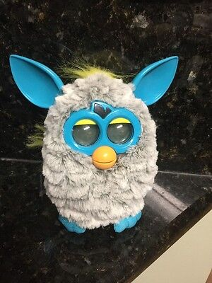 Hasbro Furby BOOM Talking Electronic Toy 2012 Teal and Gray White Color EUC