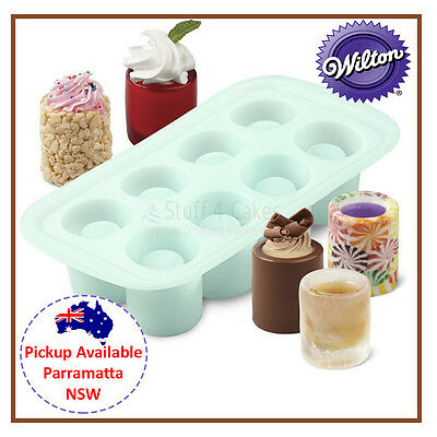 Wilton 8 Silicone Round Shot Glass Cavity Mold Ice Candy Drink Party Mould Tray