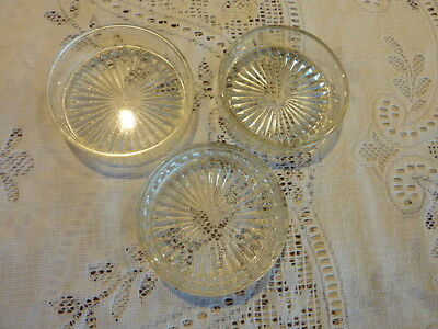 3 X Pressed Glass Round Butter Dish Star Or Daisy Pattern Base 8.5 Cm X 2.5 Cm