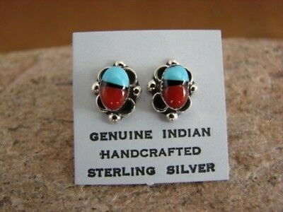 Navajo Indian Sterling Silver Turquoise & Coral Post Earrings! Hand Made!
