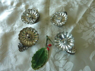 Vintage Tin Christmas Tree Decorations Pine Cone Clip X 4