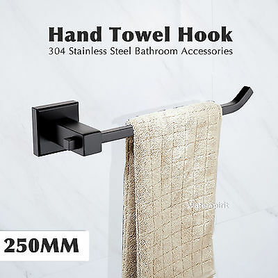 SS304 Hand Towel Rail Hook Hang Square Black Wall Mount Bathroom Accessories