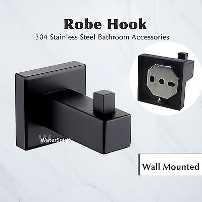Bathroom Accessories- Single Hand Towel Hook Holder Wall Mounted Black Square