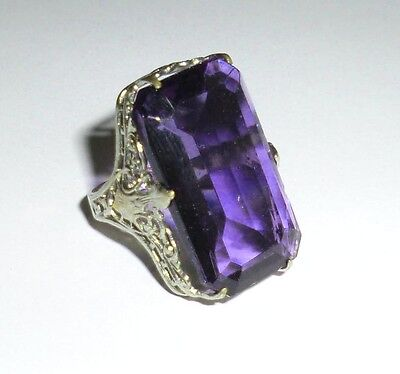 Antique Vintage Plated Faceted Amethyst Glass Ring Edwardian Signed Uncas Mark
