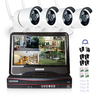 """4CH NVR WiFi 7"""" LCD Monitor 720P Wireless Home Security CCTV System IP Cameras"""