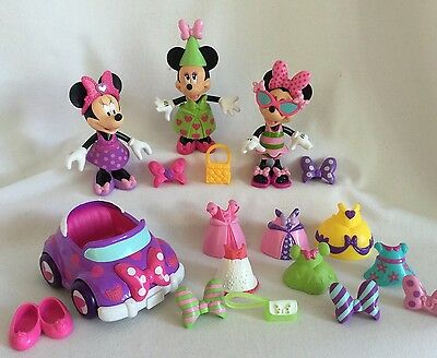 Disney Minnie Mouse Bow-Tique Snap 'N Style 28pc 3 Dolls Car & Accessories Lot 3