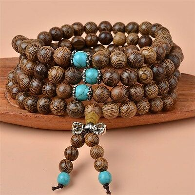 8mm Sandalwood Buddha Buddhist Meditation 108 Prayer Bead Mala Necklace Bracelet